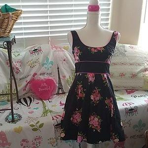 Speechless black & bright pink flower summer dress